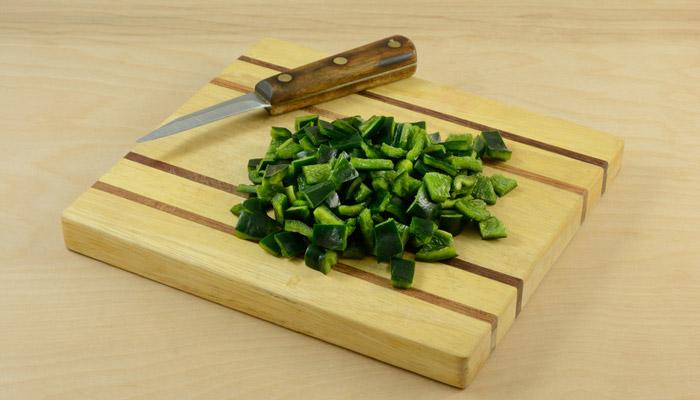 cortar chiles verdes