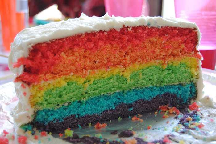 Tarta arcoíris muy sencilla y colorida