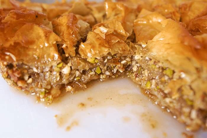Baklava de pistachos. Pastel Turco