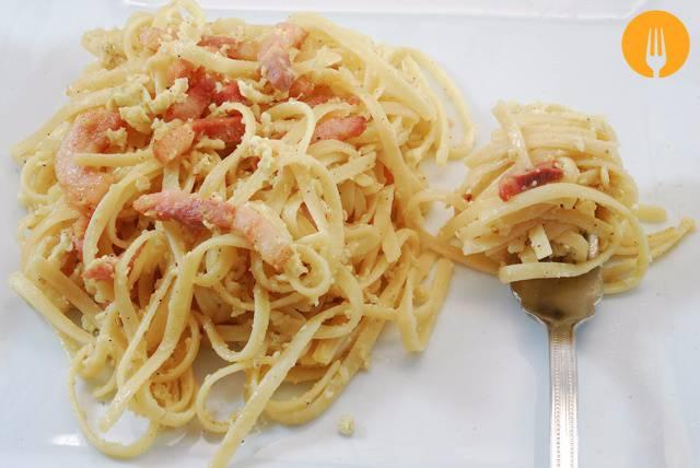Pasta carbonara sin nata, receta original