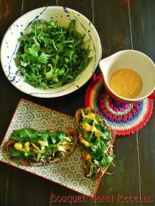 Bruschettas de Hongos Portobello y rúcula con aderezo de Masala