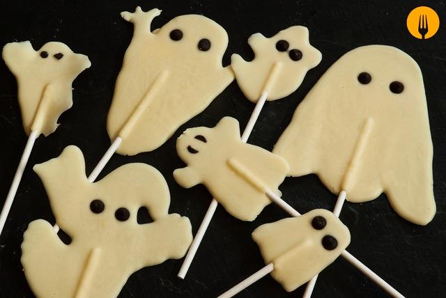 Piruletas de Fantasmas. Recetas de Halloween