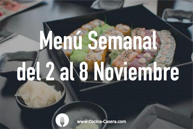 Menú Semanal del 2 al 8 de Noviembre con Recetas