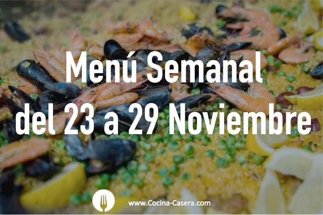 Menú Semanal del 23 al 29 de Noviembre con Recetas