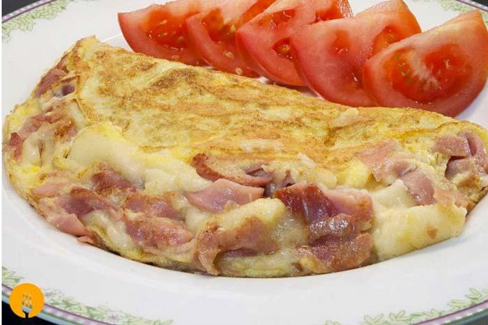 Tortilla Francesa u Omelette de Jamón y Queso