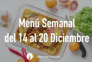 Menú Semanal del 14 al 20 de Diciembre con Recetas