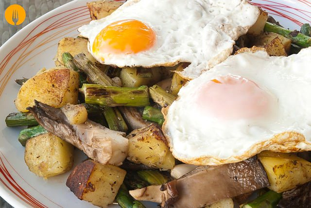 patatas salteadas huevo plancha