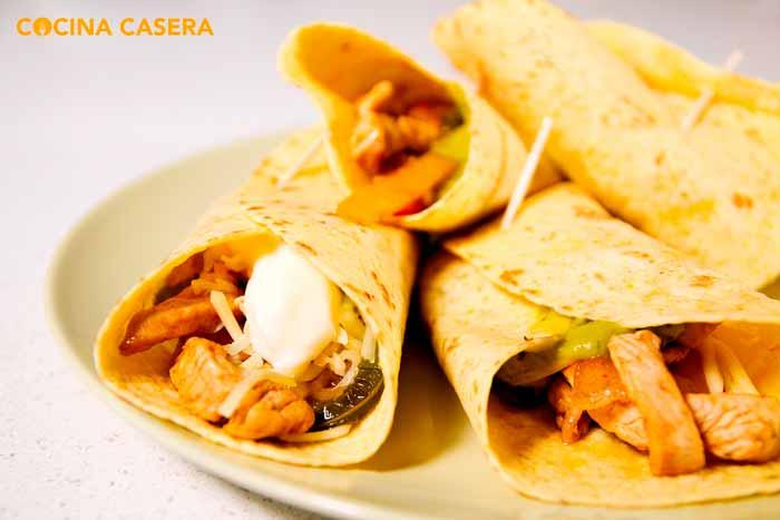 Fajitas de pollo para tacos