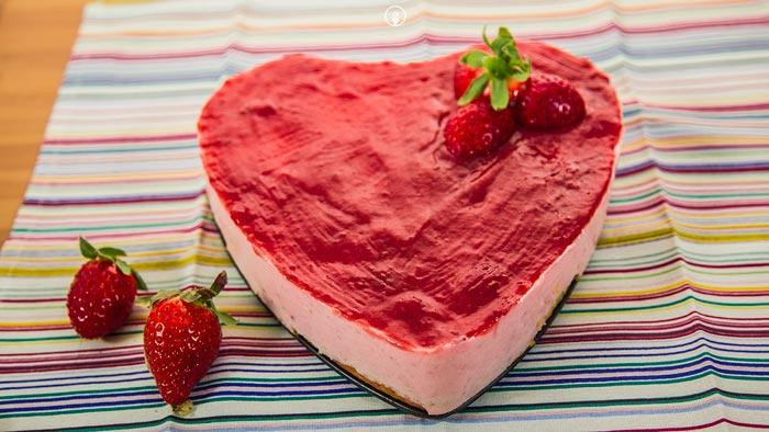 Tarta de Fresa. Postres para San Valentín