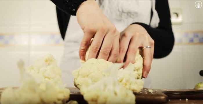 Coliflor con bechamel al horno gratinada