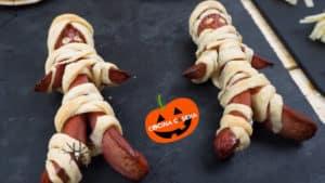 Momias de Salchicha y Momias Pizza para Halloween