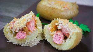 Patatas Rellenas de Salchichas al Horno