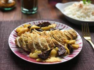 Pollo con higos y manzana