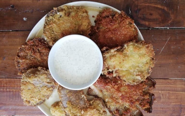 Setas empanadas con Alioli al horno