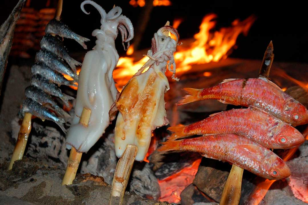 Espetada típica de la gastronomía de Málaga