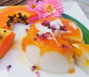 Flan de papaya casero al horno