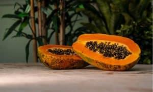 Papaya abierta por la mitad