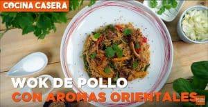 Wok de pollo con aromas orientales
