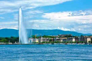 Jet d'eau en el Lago Leman de Ginebra
