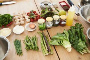 Organización de alimentos antes de cocinar
