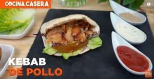 Pita de pollo con carne estilo Kebab